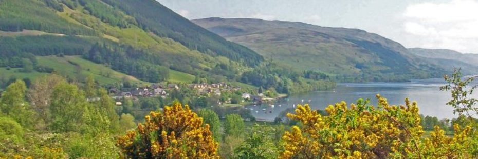 lochearnhead-village-and-loch-earn-visible-above-yellow-bushes-of-gorse-forested-hills-on-left
