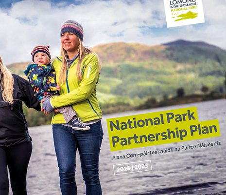 national-park-partnership-plan-cover-crop-two-blonde-women-holding-baby-with-loch-chon-backdrop